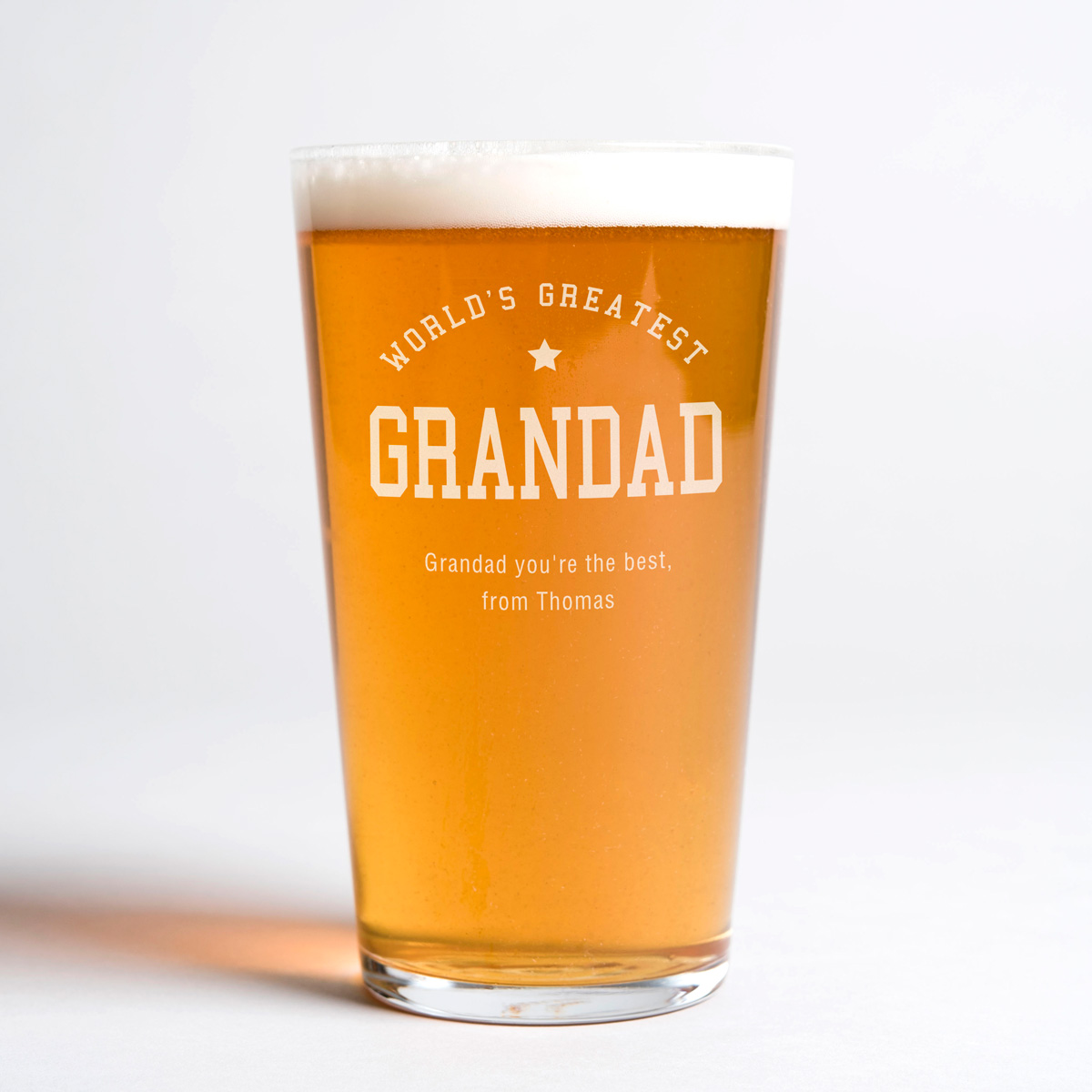 Personalised Pint Glass  Worlds Greatest Grandad