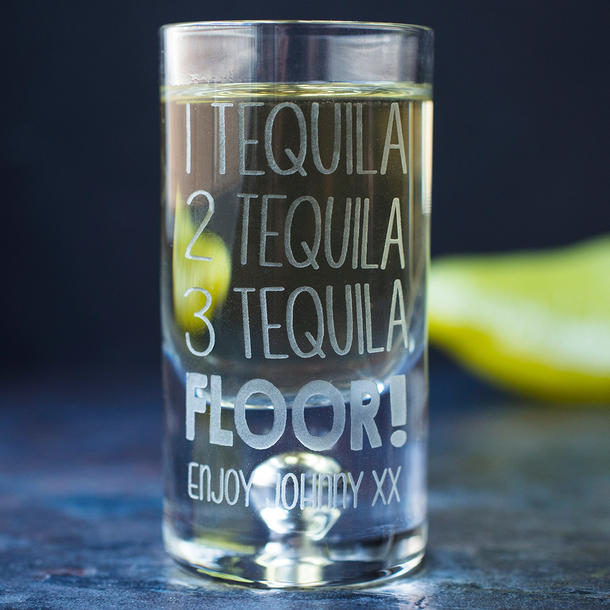 Personalised Shot Glass With Miniature  Tequila Floor