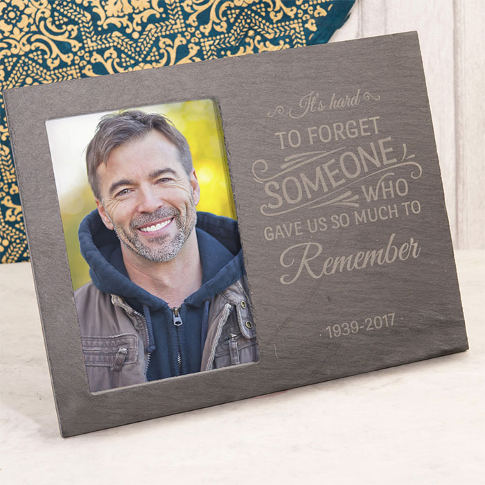 Image of Engraved Slate Chalkboard Photo Frame - It's Hard To Forget Someone