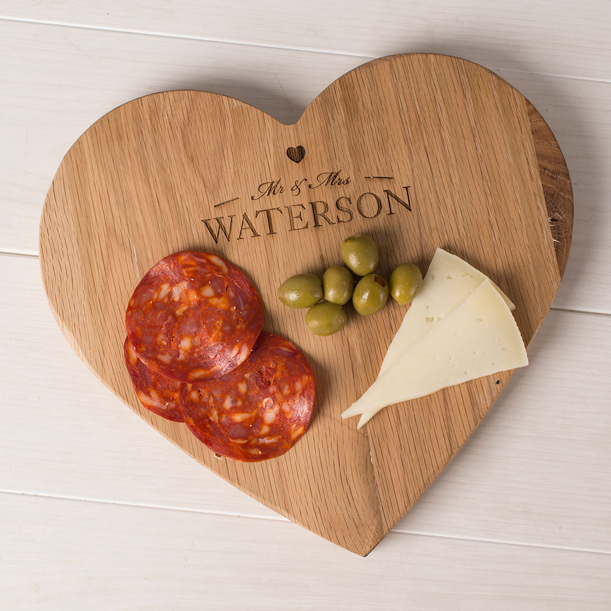 Personalised Wooden Heart-Shaped Chopping Board