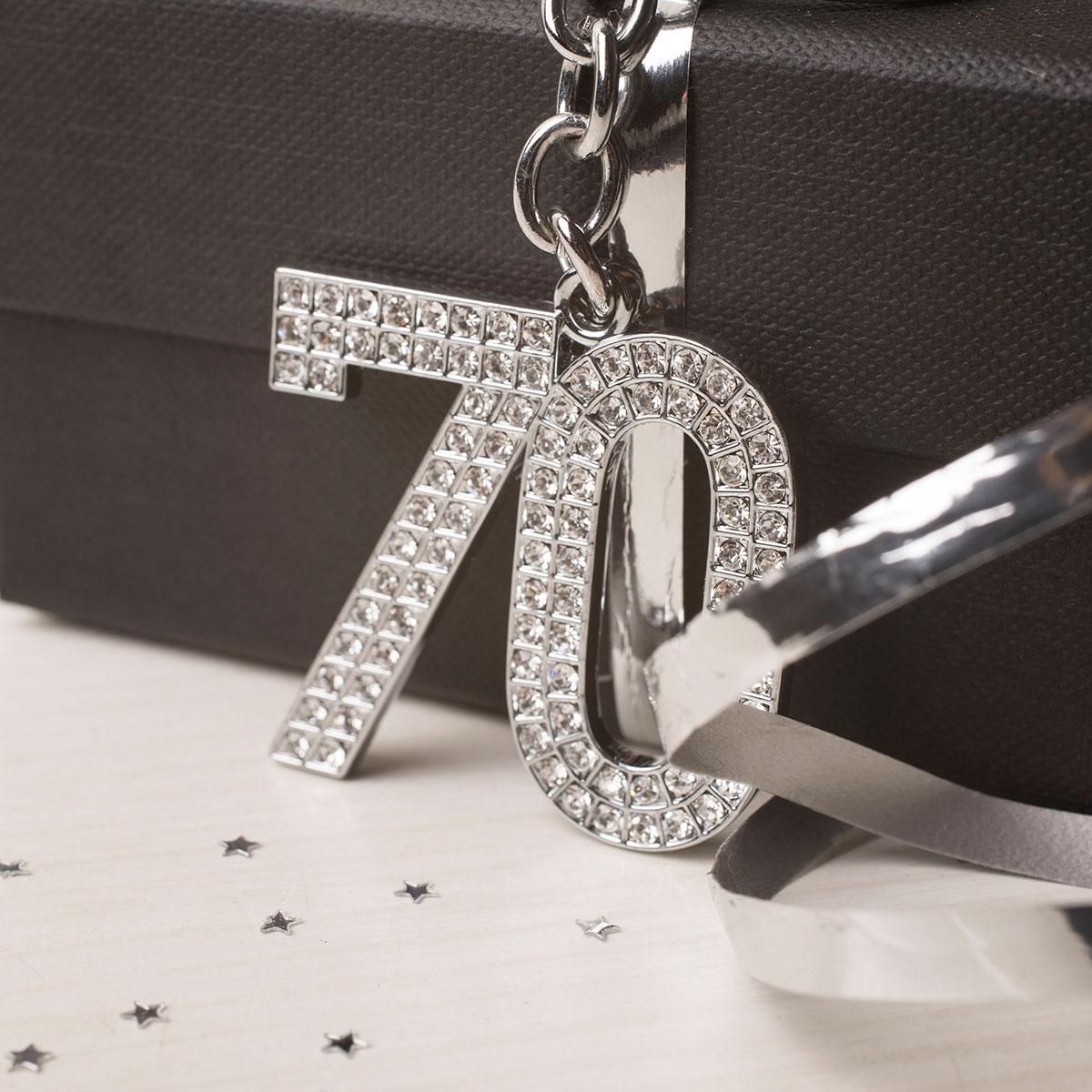 Image of Crystal Keyring - 70th Birthday