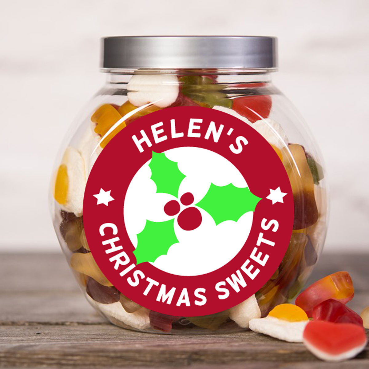 Personalised Haribo Sweet Jar - Christmas Sweets