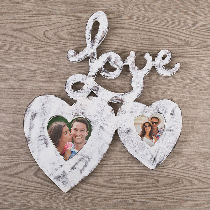 Love Double Heart Wooden Photo Frame