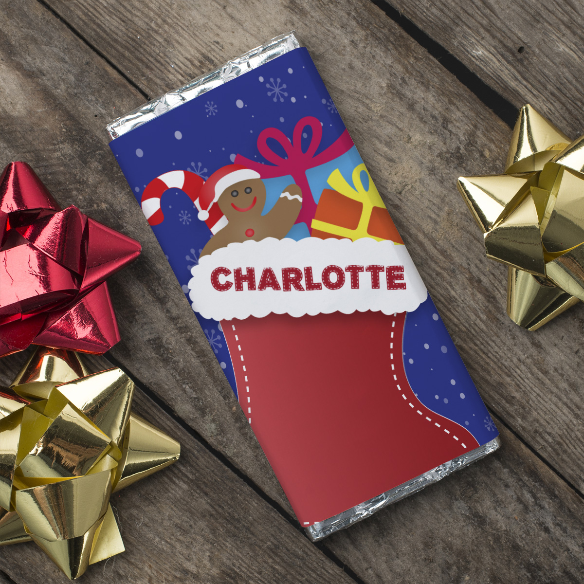 Personalised Chocolate Bar - Christmas Stocking