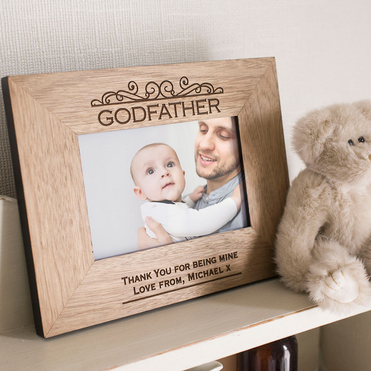 Engraved Wooden Photo Frame  Godfather