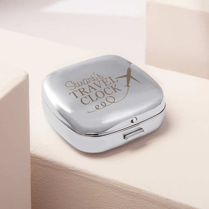 Engraved Travel Alarm Clock With Cover  Plane