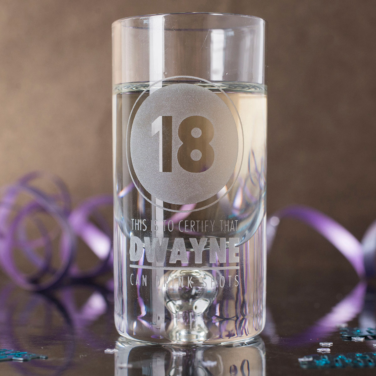 Personalised Shot Glass with Miniature  Certified 18