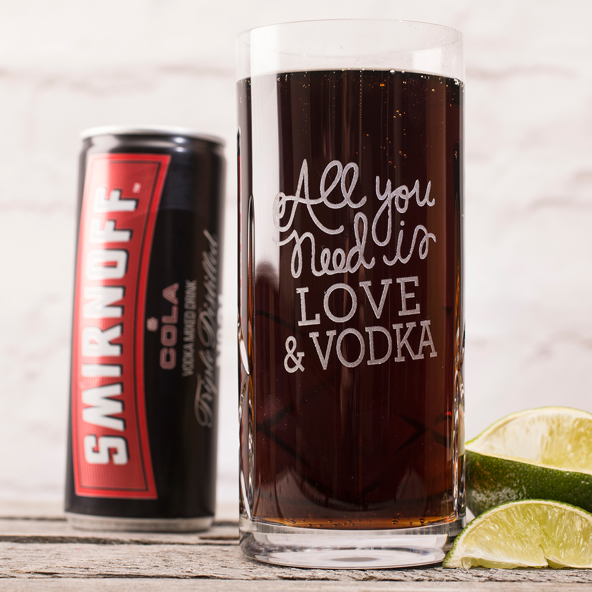 Engraved Crystal Highball Glass With Smirnoff™ Mixer  All You Need Is...