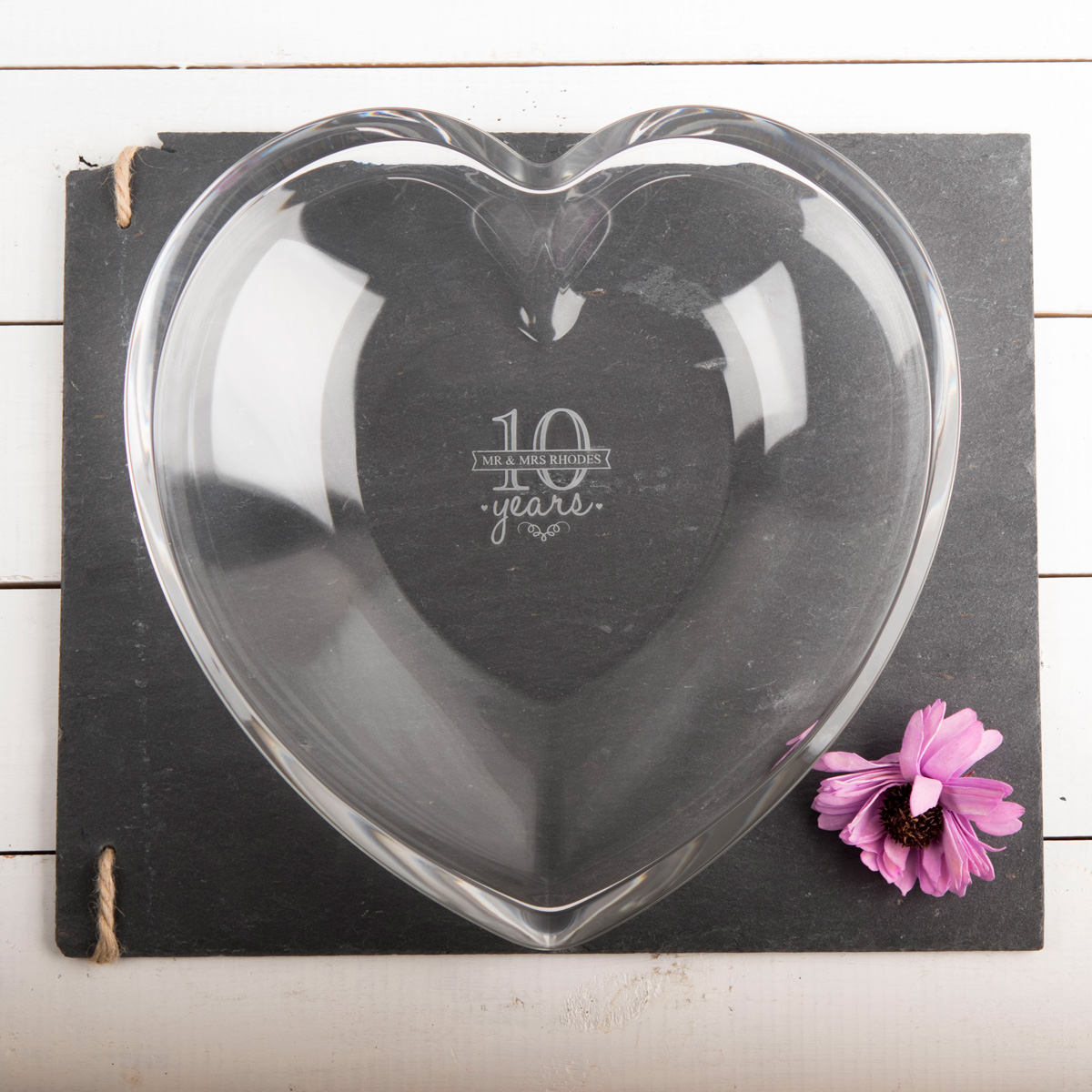 Personalised Heart Glass Bowl  10 Years