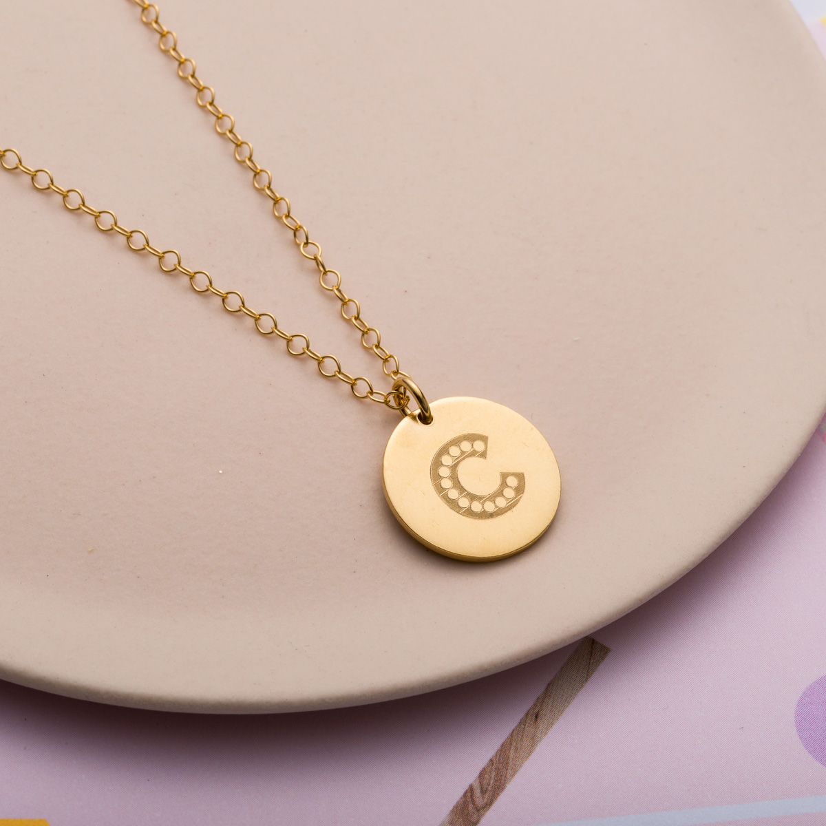 Personalised Posh Totty Designs Letter In Lights Coin Necklace