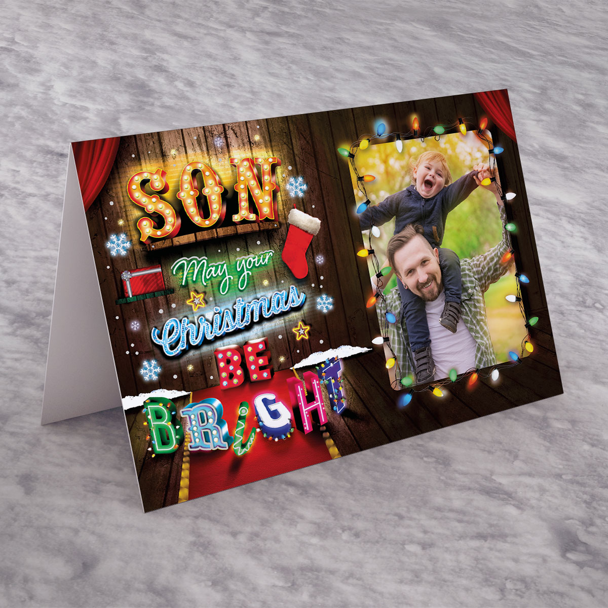 Photo Upload Christmas Card - Son, May Your Christmas Be Bright