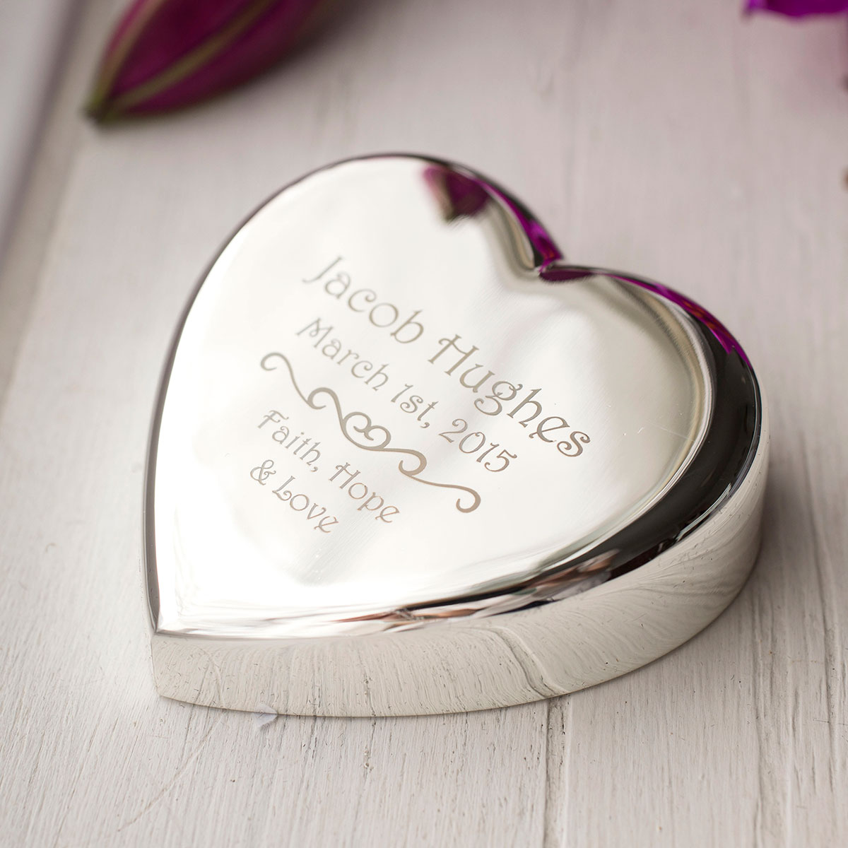 Engraved Heart Paperweight  Faith Hope Love