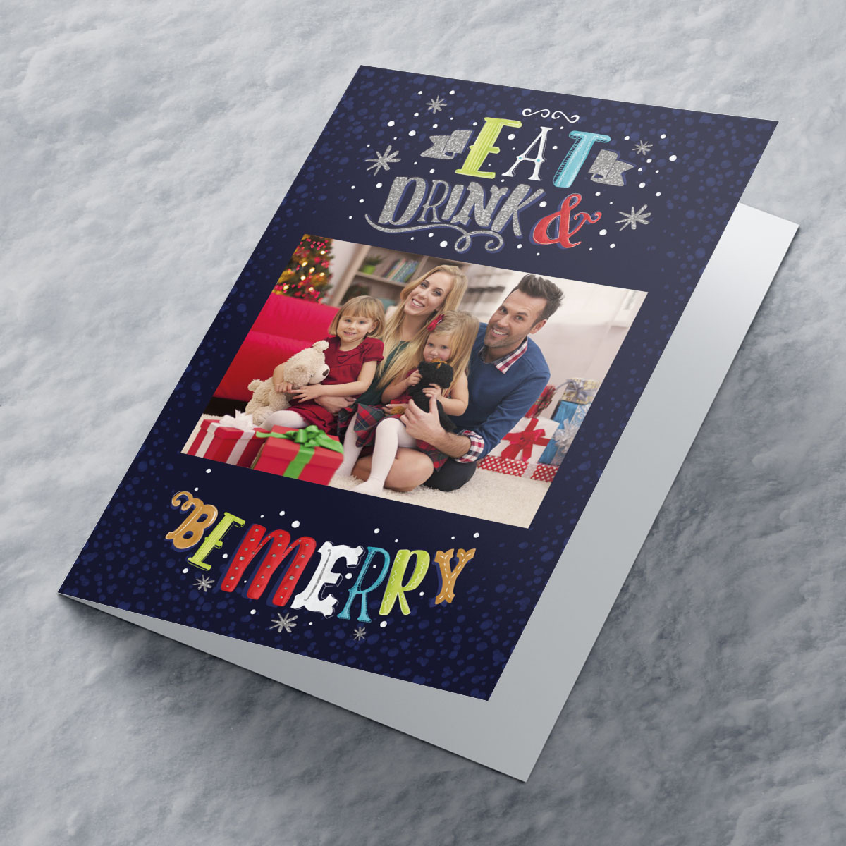 Photo Upload Christmas Card - Eat Drink And Be Merry, Sparkle