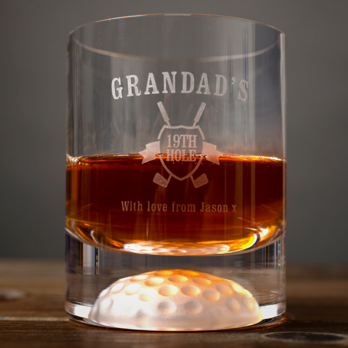 Personalised Golf Whisky Tumbler  Grandads 19th Hole