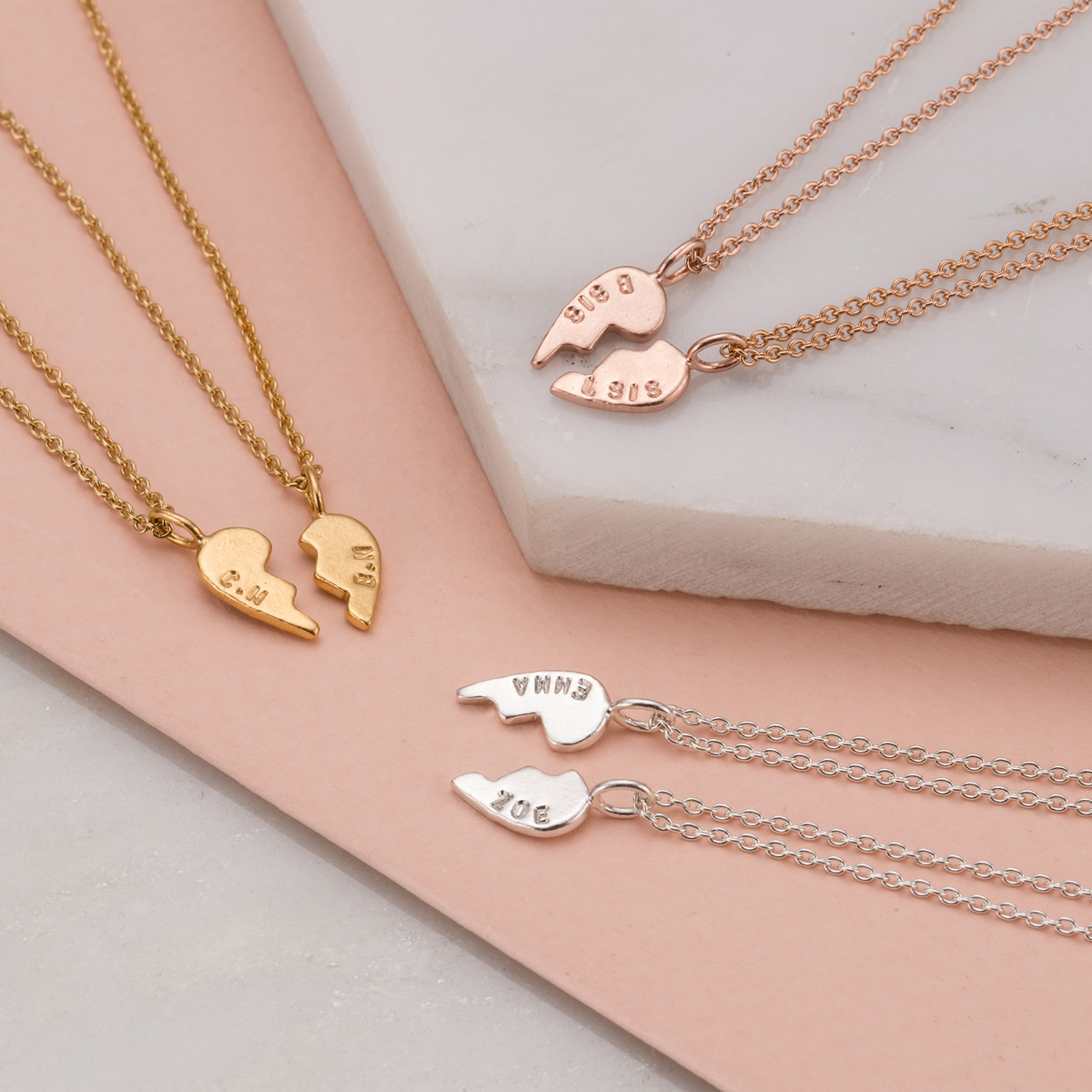 Personalised Posh Totty Designs Piece of My Heart Necklace Set