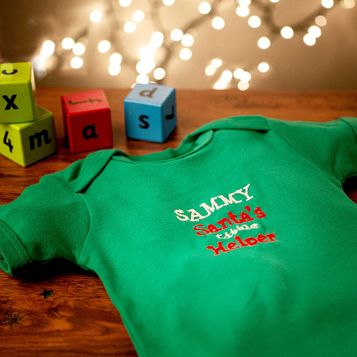 Personalised Green Organic Cotton Baby Grow - Santa's Little Helper