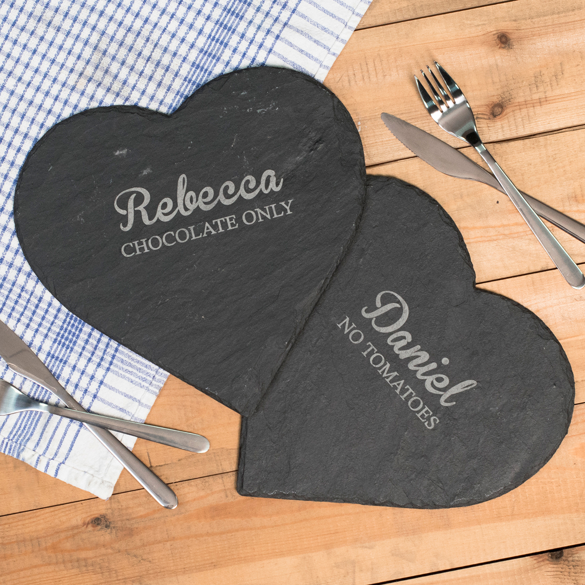 Image of Engraved Set Of 2 Heart-Shaped Slate Placemats - Chocolate Only