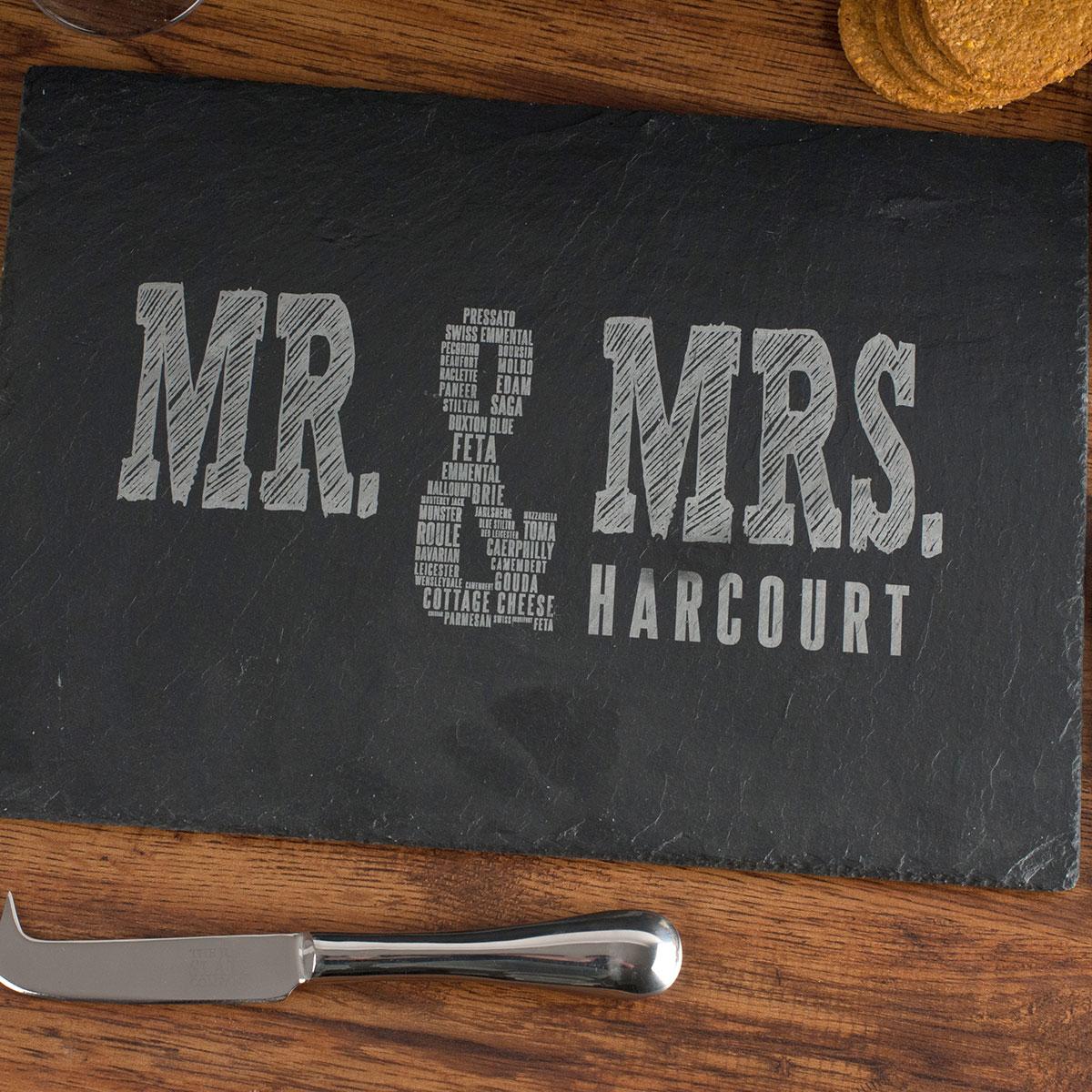 Personalised Slate Cheeseboard - Mr & Mrs