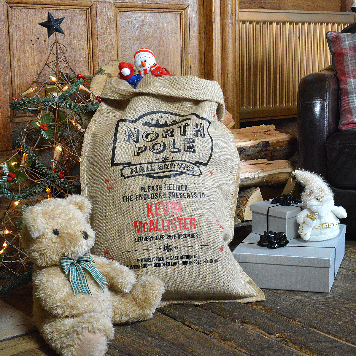 Personalised North Pole Mail Hessian Santa Sack