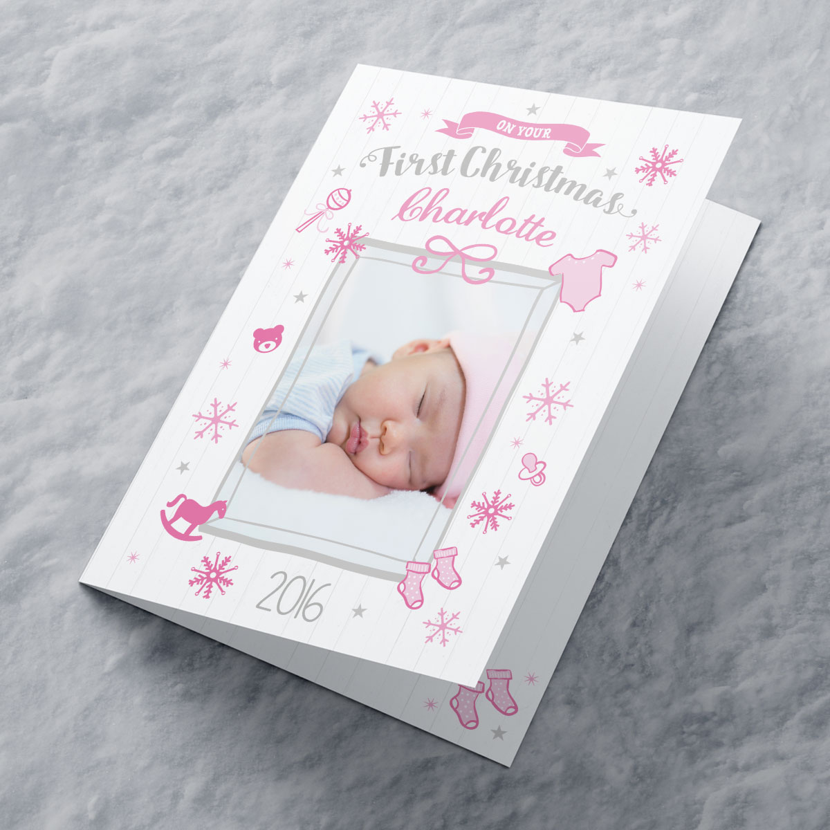 Photo Upload Christmas Card - Pink First Christmas