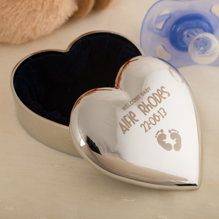 Engraved Silver Plated Heart Trinket Box  Welcome Baby