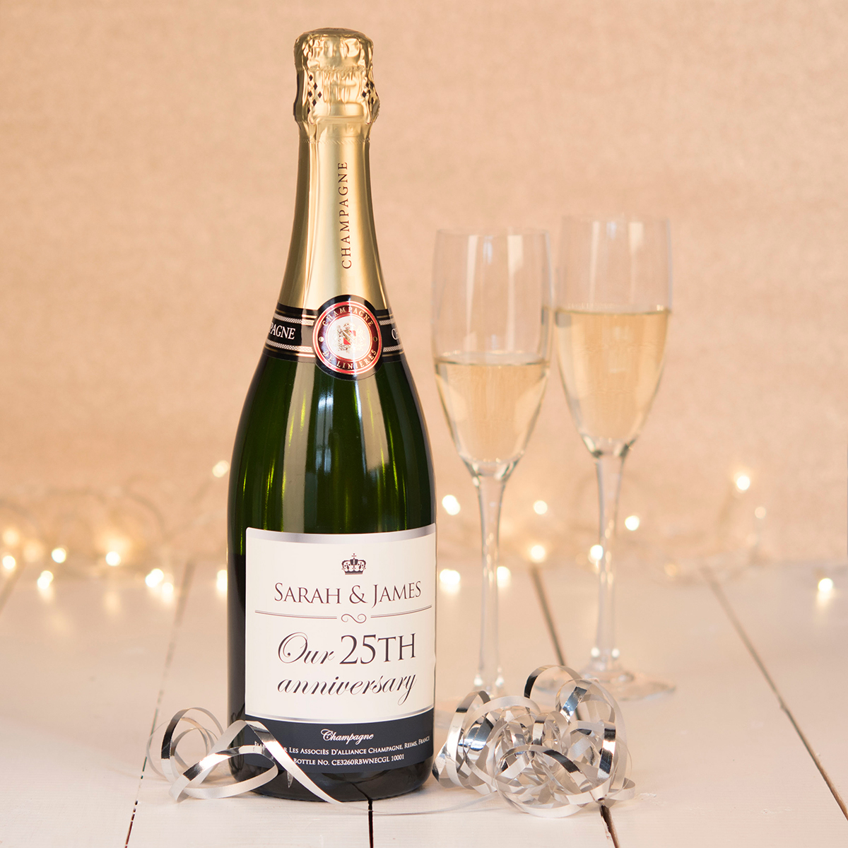 Image of Luxury Personalised Champagne - Our 25th Anniversary