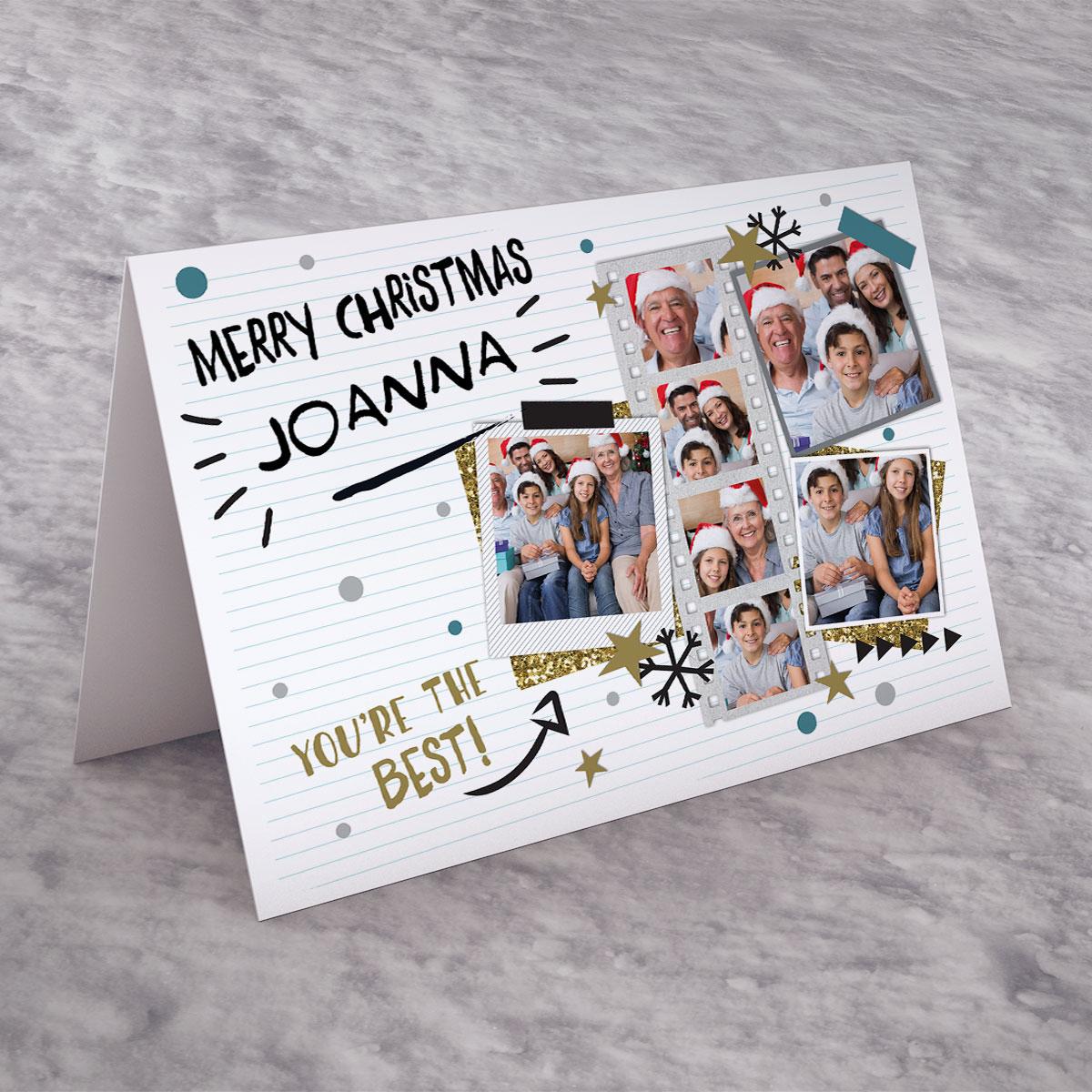 Photo Upload Christmas Card - Polaroids, 7 Photos