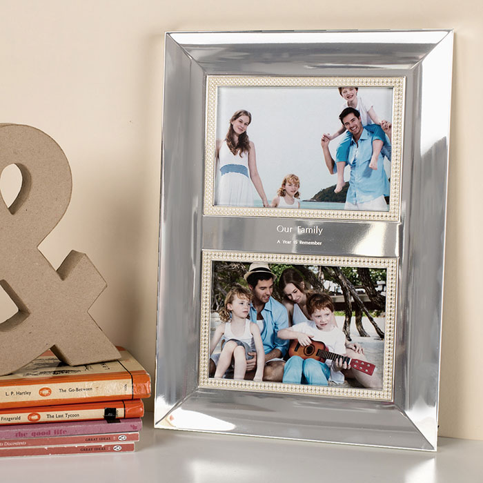 Engraved Double Picture Frame with Pearls