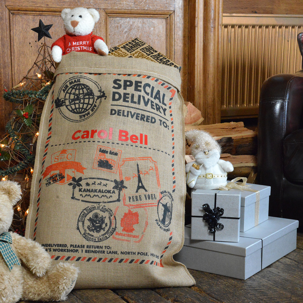 Personalised World Travel Hessian Santa Sack
