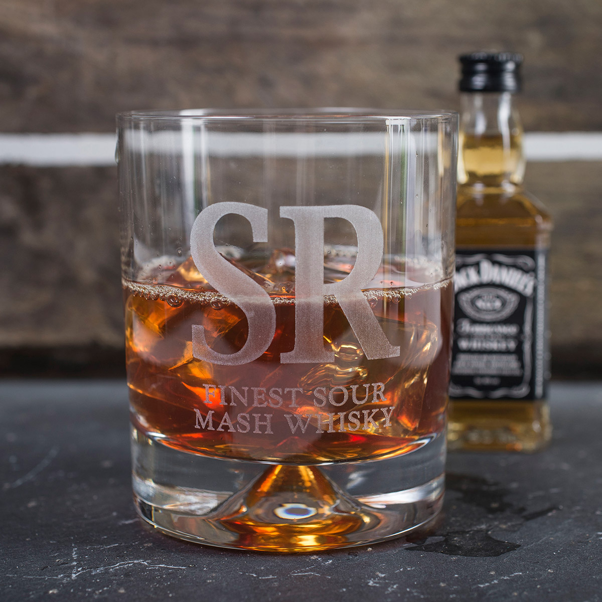 Personalised Birthday Whisky Tumbler and Jack Daniels Miniature  Finest