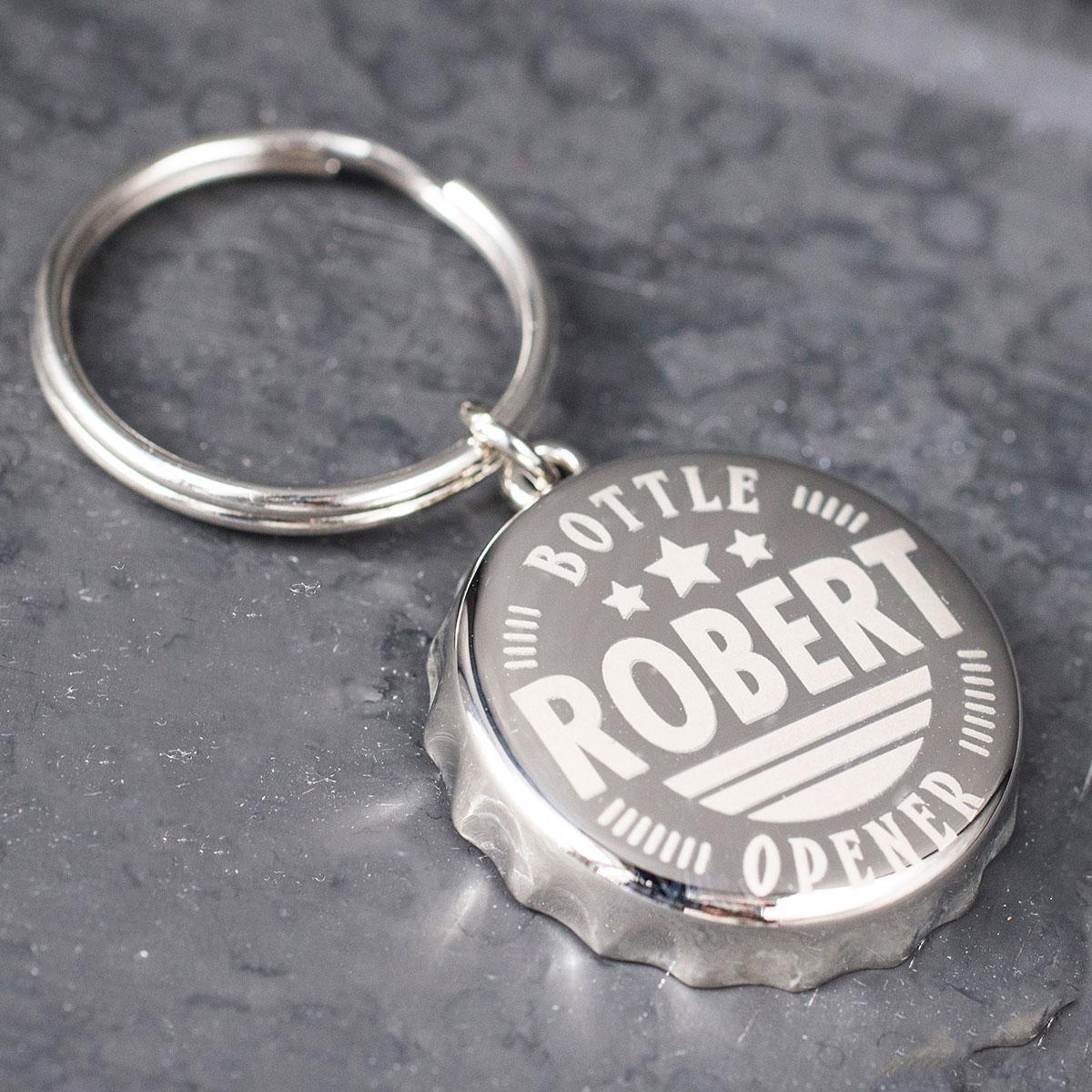 Personalised Bottle Top Keyring With Bottle Opener - Stars