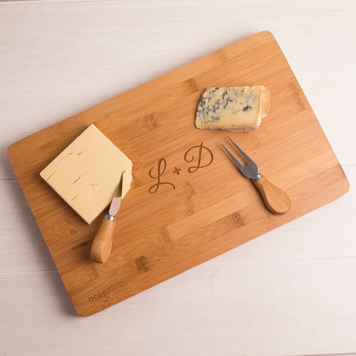 Personalised Large Rectangular Wooden Cheese Board - Couple's Initials
