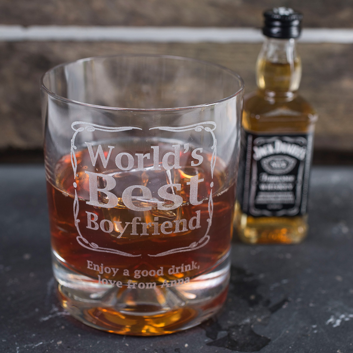 Personalised Birthday Whisky Tumbler and Jack Daniels Miniature  Worlds Best