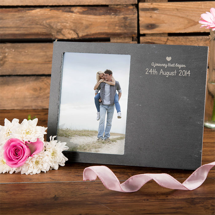 Image of Engraved Slate Chalkboard Photo Frame - Journey
