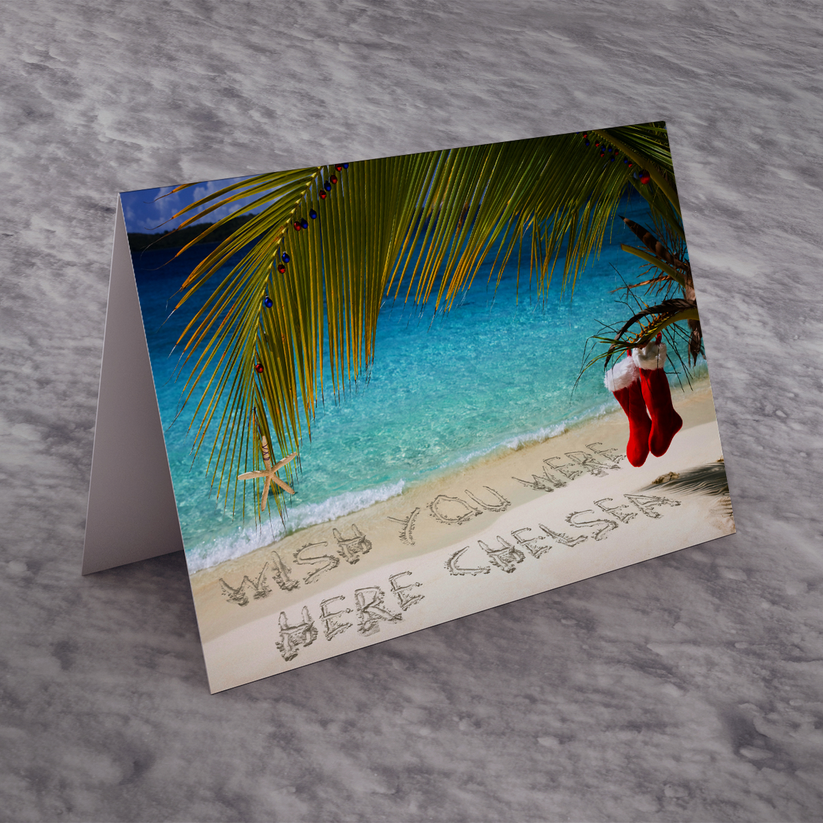 Personalised Christmas Card - Beach
