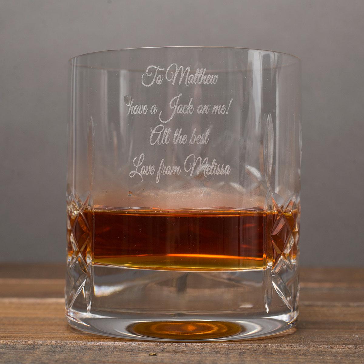 Engraved Crystal Whisky Tumbler & Jack Daniels Gift Set