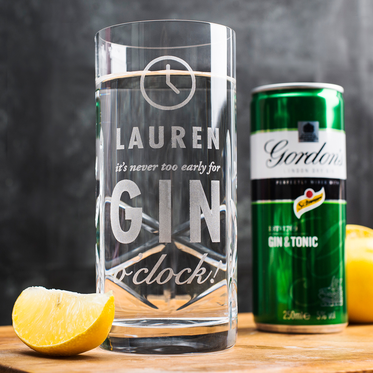 Engraved Crystal Highball Glass With Gordons G&T Mixer  Gin OClock