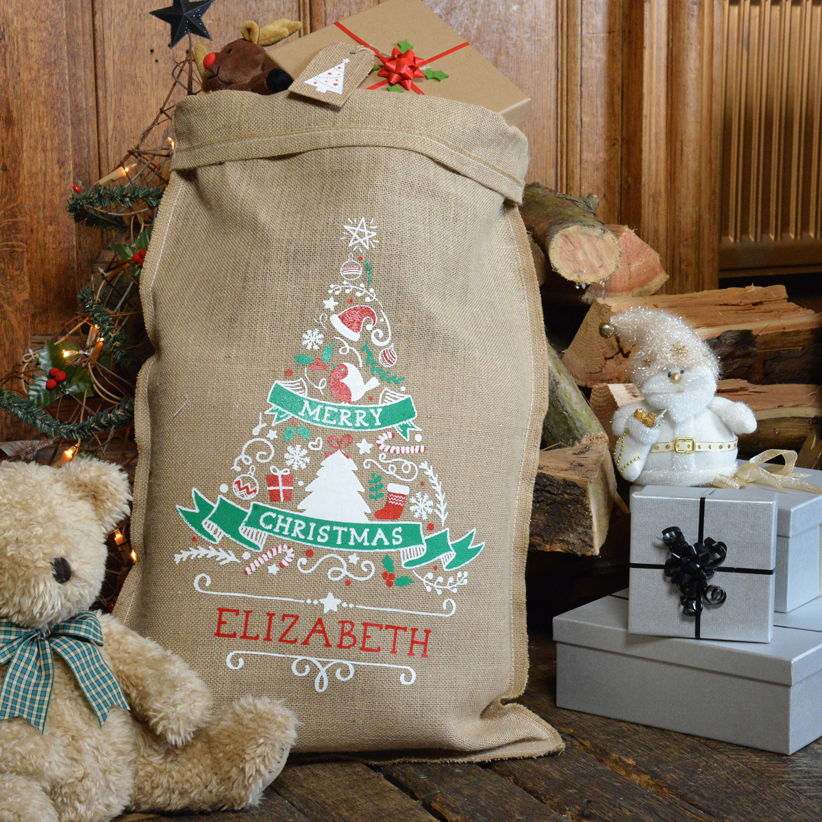 Personalised Christmas Tree Santa Sack