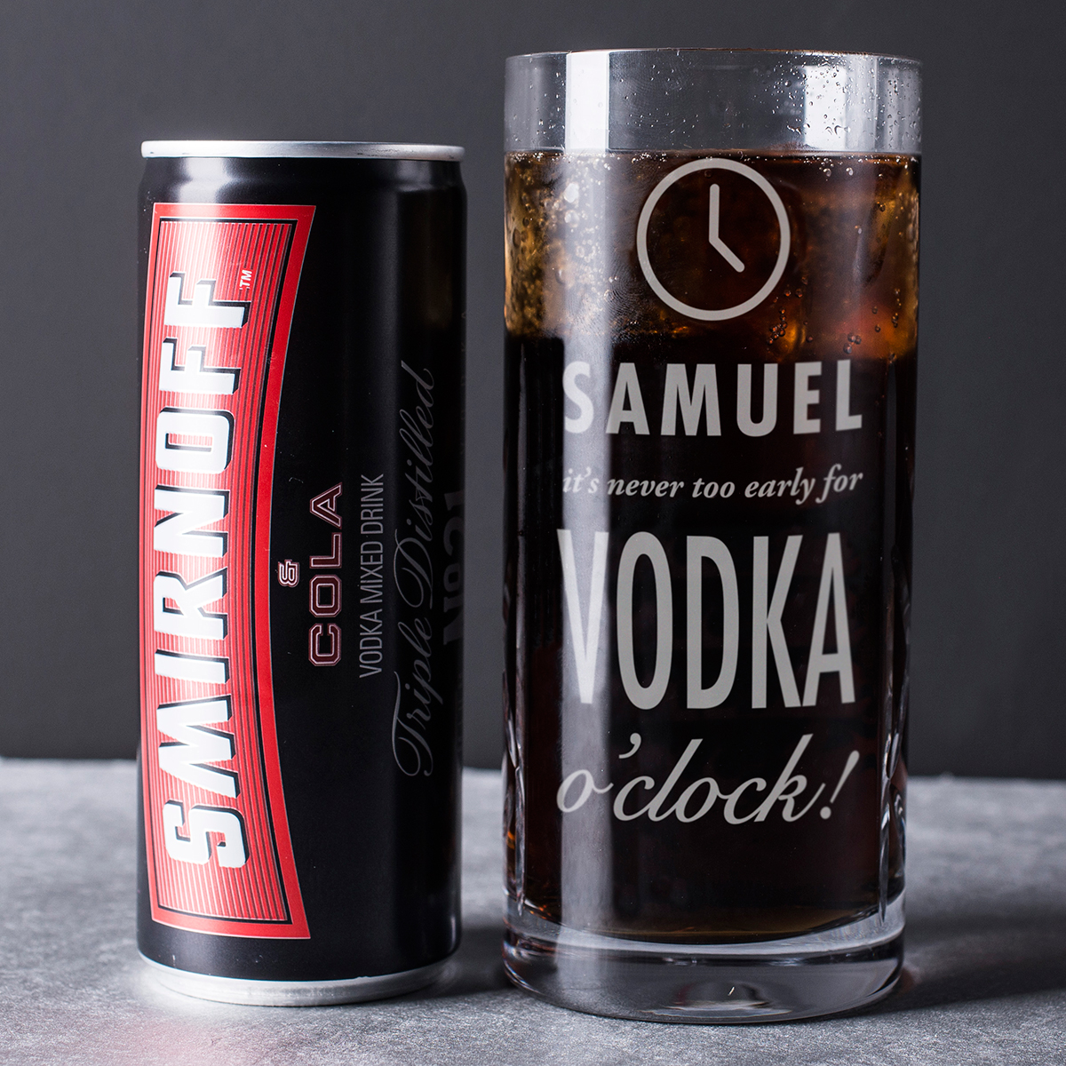 "Engraved Crystal Highball Glass With Smirnoffâ""¢ Mixer - Vodka O'Clock"