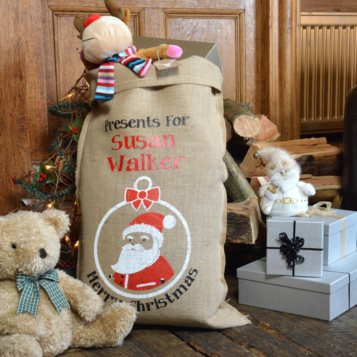 Personalised Saint Nicholas Hessian Santa Sack
