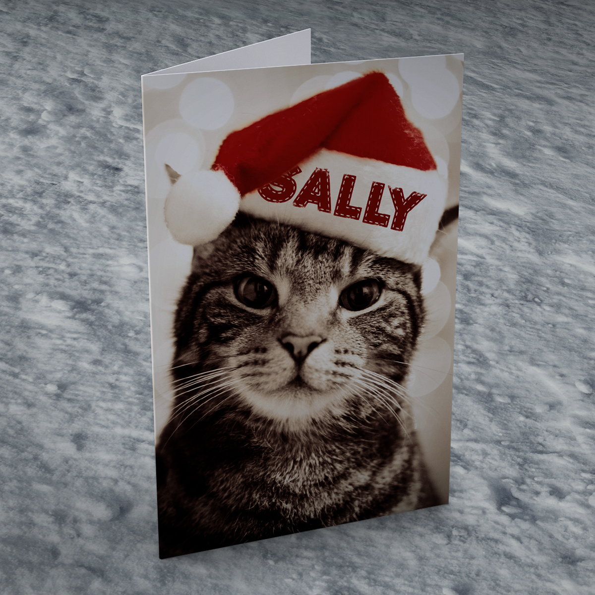 Personalised Christmas Card - Cat In Hat