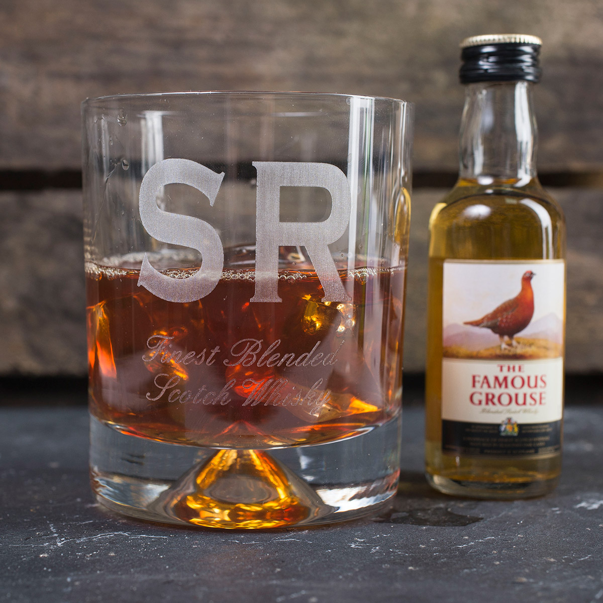 Personalised Stern Whisky Tumbler and Famous Grouse Miniature  Finest