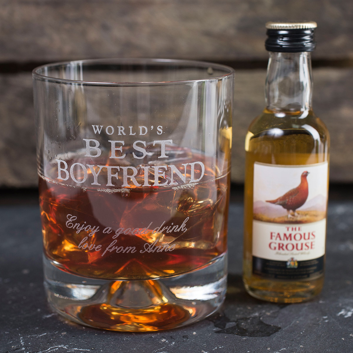 Personalised Stern Whisky Tumbler and Famous Grouse Miniature  Worlds Best