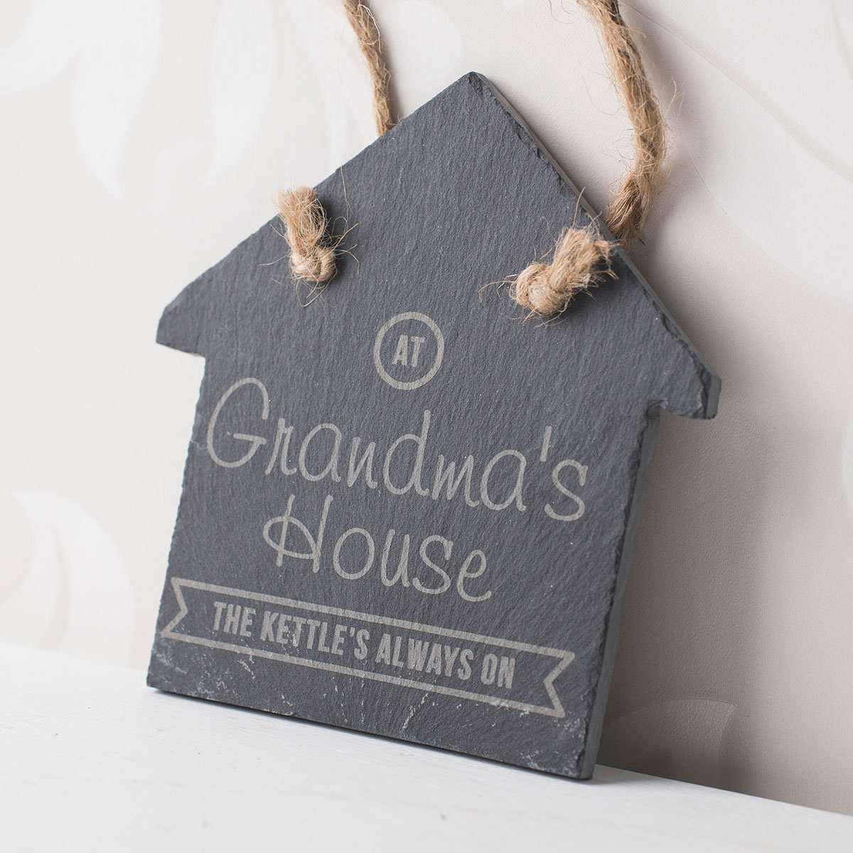 Personalised Small House Slate Keepsake  The Kettles Always On