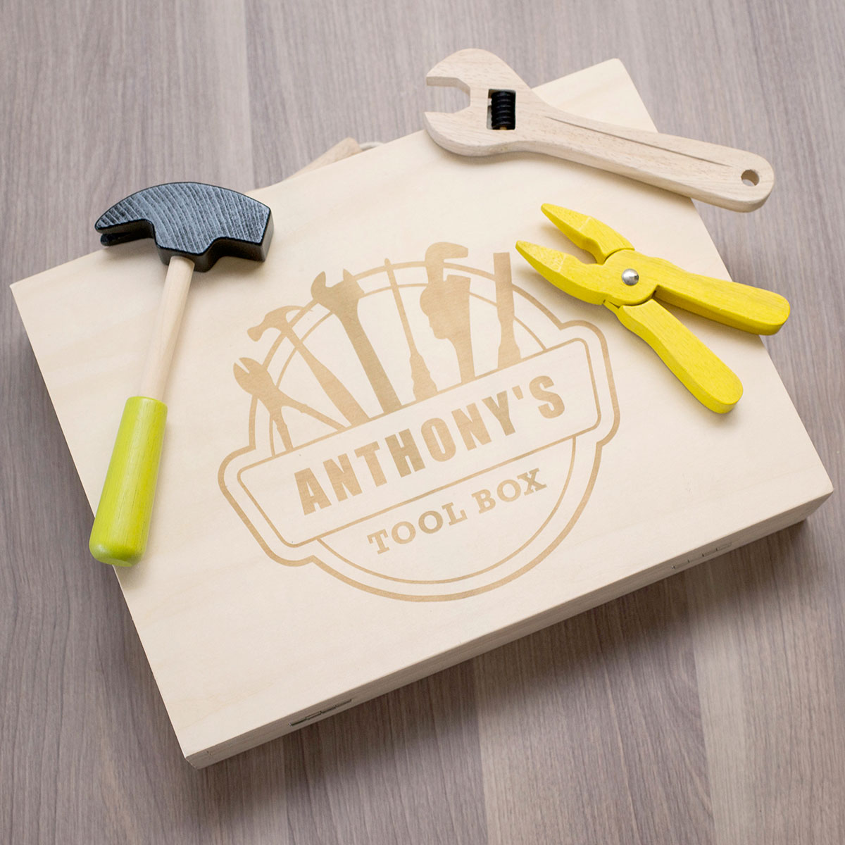 Personalised Childrens Wooden Tool Set & Case