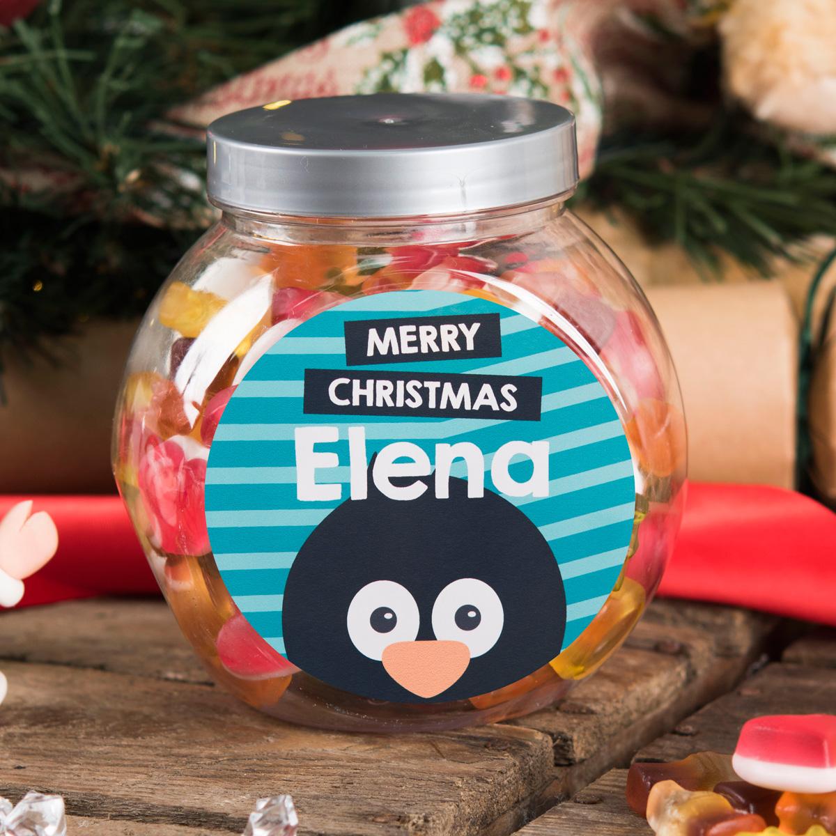Personalised Haribo Sweet Jar - Christmas Penguin