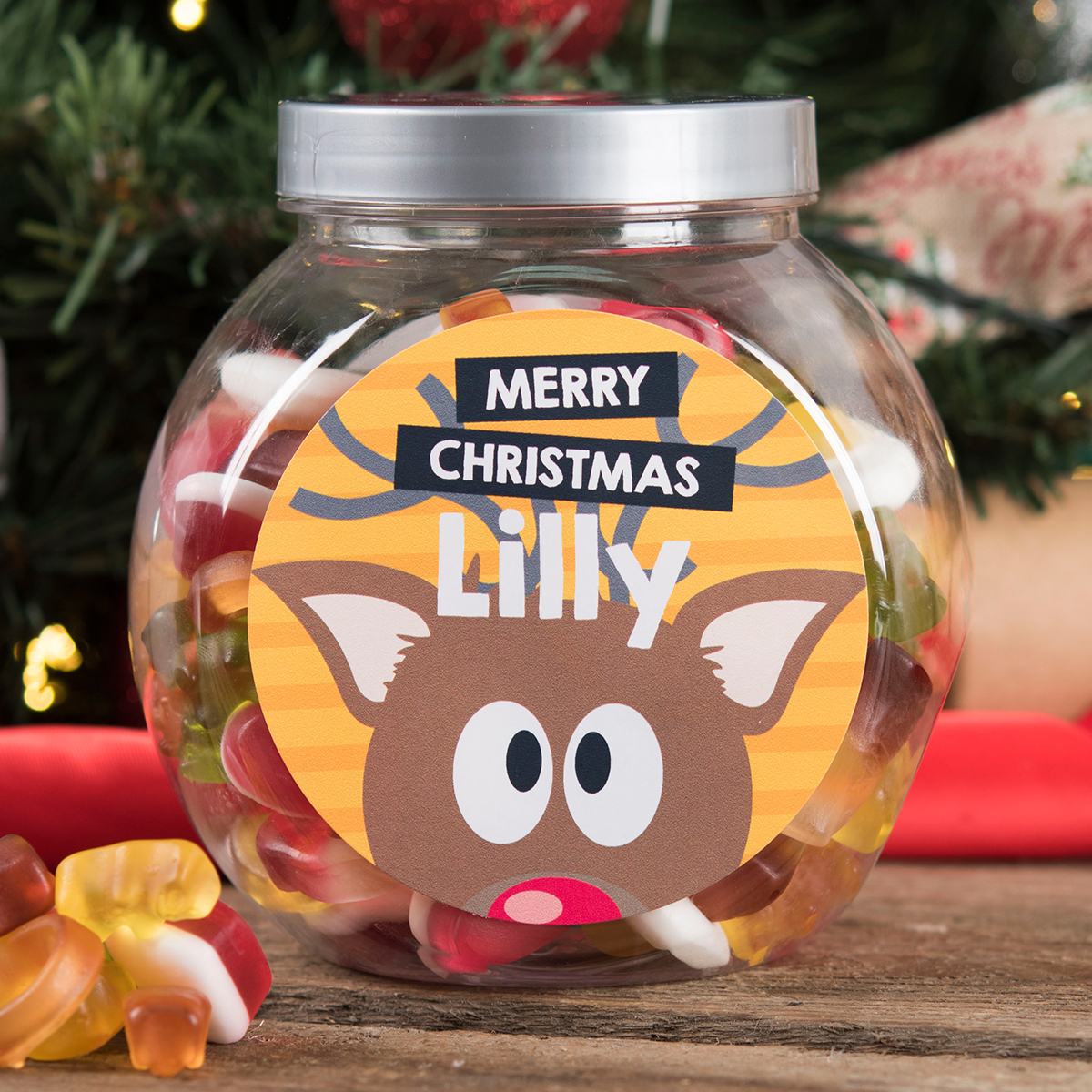 Personalised Haribo Sweet Jar - Christmas Reindeer