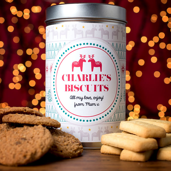 Personalised Christmas Tin with Biscuits
