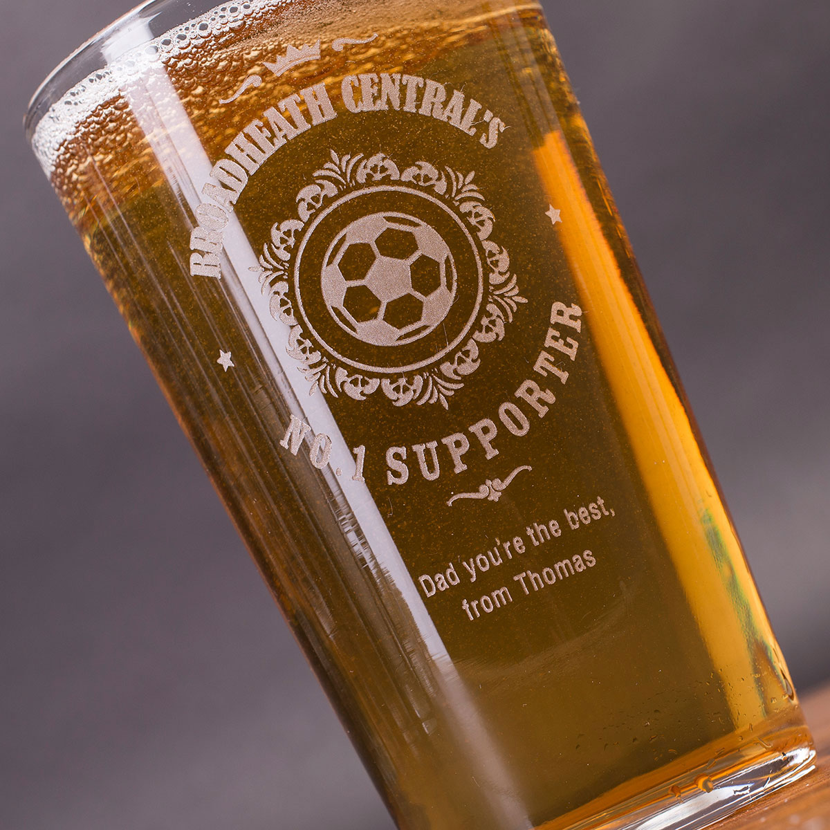 Personalised Pint Glass  No.1 Supporter