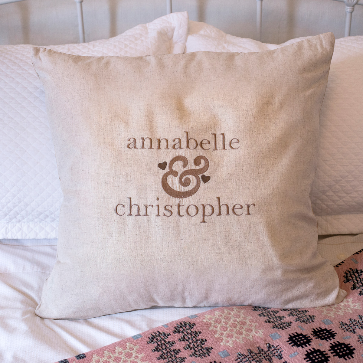 Personalised Natural Cushion  Ampersand Heart Initials